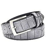 xlygood Cocodrilo Cinturón de cuero partido de los hombres de la correa de cocodrilo Accesorios de Moda de la correa,Gray,115cm 38to41 Inch