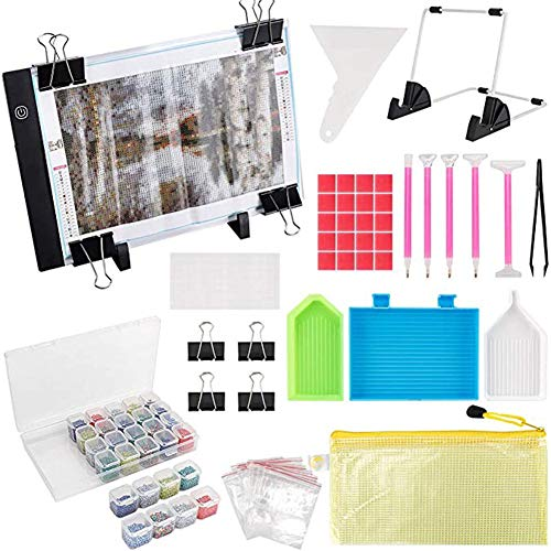 Acreny 59Pcs / Set Diamond Painting A4s LED Light Pad Reusable Kit Ideal para perforación Completa y perforación Parcial Pintura de Diamante 5D