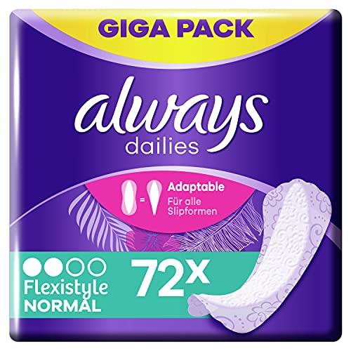 Always Dailies Slipeinlagen Damen Flexistyle Normal (72 Binden) Giga Pack, passend für alle Slipformen