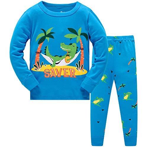 DAWILS Jungen Schlafanzug Kinder Krokodil Lang Zweiteiliger Schlafanzug Langarm Shirt und Pyjamahose 110