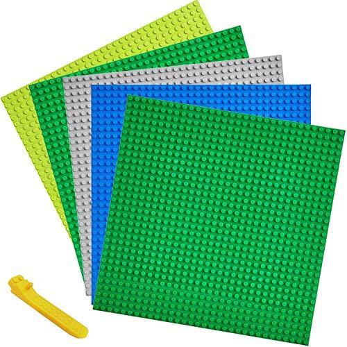 WYSWYG 10 x 10 Zoll Grundplatten-Set, 5 Stücke, Bausteine Grundplatte + Werkzeugsatz zum Entfernen, Klassisch Quadrat Doppel- und einseitig Flache Straße Grundplatte Aktivitätstabelle, 5 Pack Platte