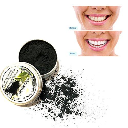 KISSION Zahnpulver,Natur Bambus Aktivkohle Zahn Pulver Reinigung Zähne Plaque Zahnstein Entfernung Kaffee Flecken 8g