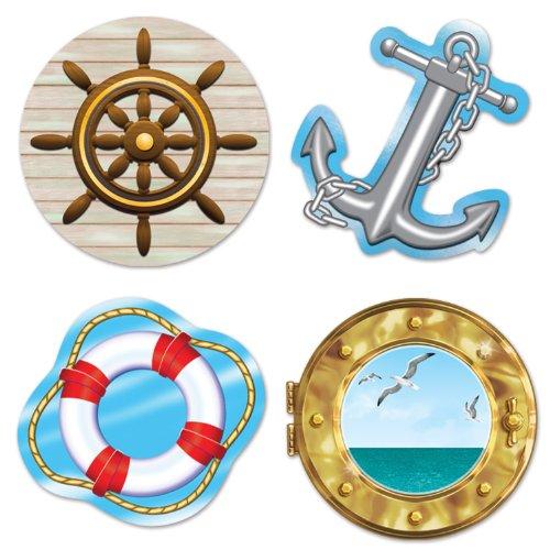 Beistle Nautical Cutouts, 133/4-Inch, 16'' 14'' 4'', Multicolored