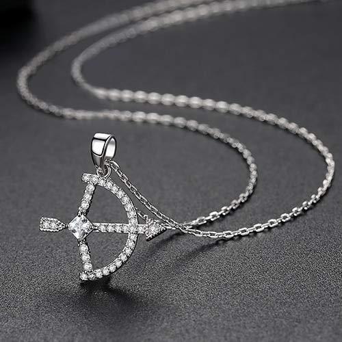 KHOBGLU Halskette Für Frauen Romantische Pfeil Und Bogen Form Anhänger Halskette Fashionn Choker Schmuck Rhodium