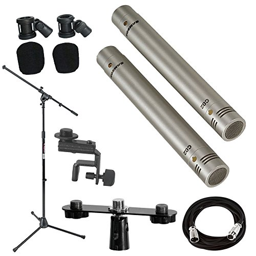 Samson C02 Pencil Condenser Microphones + Mic Stand + Mic Clip + Mic Cable + Mic Attachment Bar - Top Value Accessory Bundle