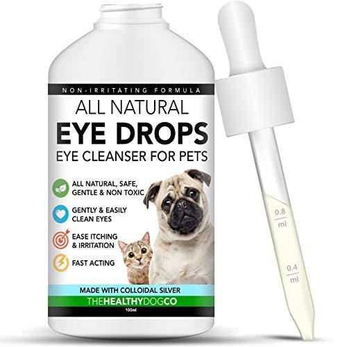 The Healthy Dog Co Ganz natürliche Augentropfen für Hunde und Katzen – Haustier-Augenwasch mit kolloidalem Silber, für Augenspülung - schnellwirkend, sanfter Augenreiniger