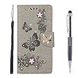 Grandoin Kompatibel mit iPhone 12 Mini Hülle (5,4 Zoll), Bling Glitzer Glitter Schmetterling...