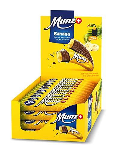 Schweizer Schokolade | MUNZ Schokobananen mit echtem Bananenmark | 40 Stück á 19g im Thekendisplay | 760g Großpackung | Maestrani Schokolade | Ohne Palmfett