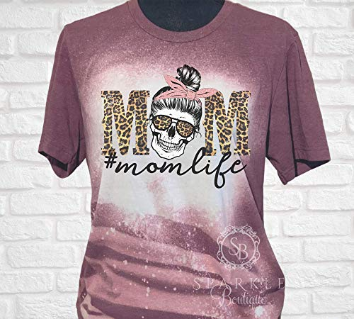 Mom Life Skull Shirt Bleached and Distressed Shirt