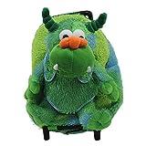 Plush Monster Green Furry Trolly Rolling Backpack W/ Wheels