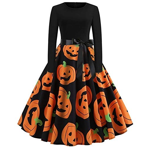 LXJ Halloween, Halloween-Party-Requisiten, Dekorationen, Halloween-Kleid, langärmelig, mittellang, Prinzessinnen-Kleid, Damen-Kostüm für Festival, Party, M-XXL (Farbe: Orange, Größe: L)