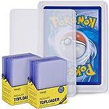 blaash Toploader Set | 2 x 25 fundas | 3 x 4 pulgadas | doble protección para todo tipo de cartas de juego y coleccionables como Pokémon, YuGiOh, MTG, Match Attax | protección extra transparente