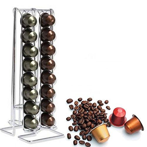 Ducomi® Arabica ? Kapseln Platz aus Stahl? Spender für 32 Nespresso-Kapseln und kompatibel? Kapselhalter für Kaffeekapseln mit 4 Spalten ? Design und Praktikabilität 30 x 13 x 10,5 cm