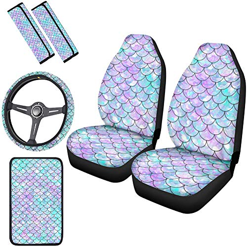 Horeset Pretty Mermaid Scale Print Car Seat Covers Full Set 6 Pcs Includes 15' Steering Wheel Cover, Center Console Armrest Cover, Automobile Safety Belt Pads Fit Most SUV Truck for Women Ladies Gifts