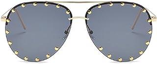 Flowertree SJR-A05 Rimless Half Frame Stud Embellished Aviator Sunglasses
