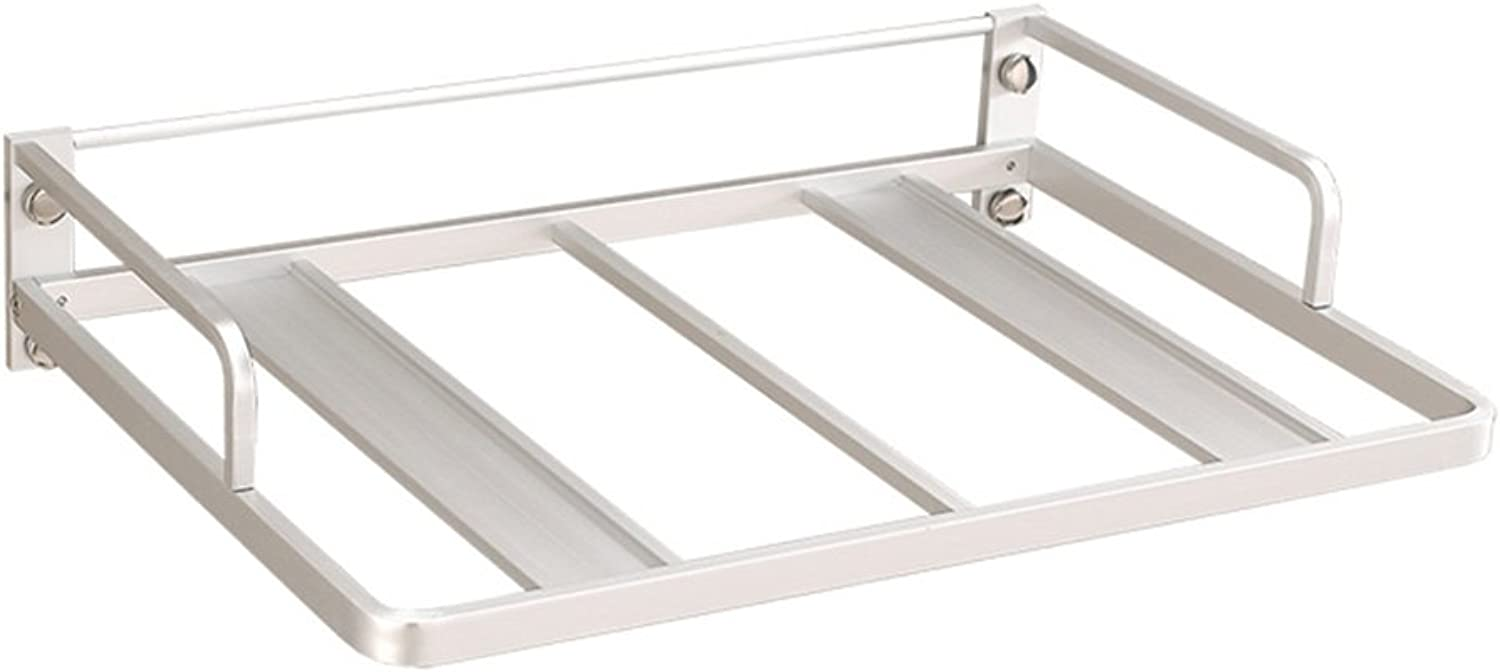 BJLWT Microwave Oven Rack,Thickened Space Aluminum Wall-Mounted Bracket, Multifunctional Kitchen Shelf Wall Hanging Stacks Kitchen Support Frame, Silver Goods Racks (Size   Single Layer)