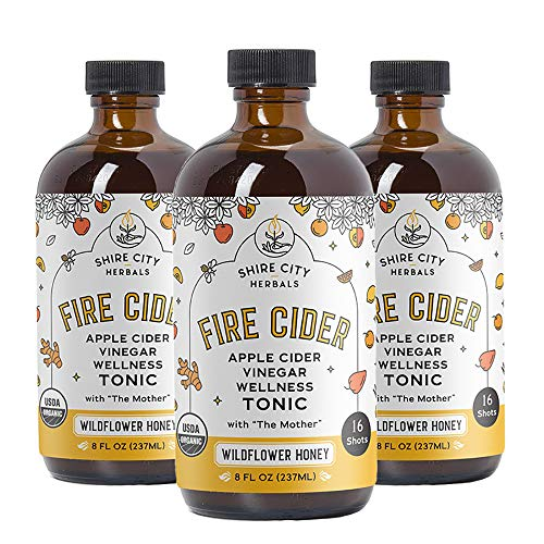 Fire Cider, Tonic, 3pack, 8oz Wildflower Honey, 24 total Daily Shots, Apple Cider Vinegar, Raw, Organic, Not Heat Processed, Not Pasteurized, Not Diluted, Paleo, Keto, Whole 30