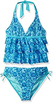 YMI Girls  Big Tropical Paradise Tankini TRQ Turquoise 7/8