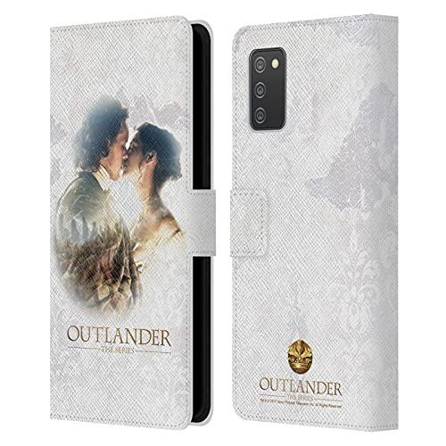 Head Case Designs Licenza Ufficiale Outlander Claire E Jamie Bacio Primi Piani Cover in Pelle a Portafoglio Compatibile con Galaxy A02s   M02s (2021)