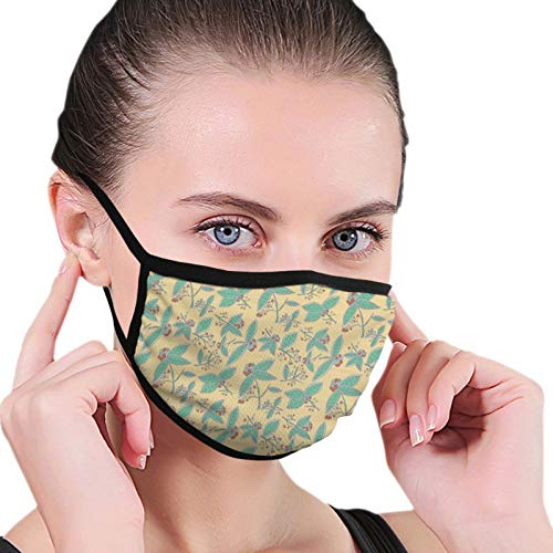 Herbal Leafage Sea Green Leaves And Berries Freshness Themed Organic Pattern,Adult Dust Mask Fashion Face Mask Sunscreen Windproof Bandana Men's and Ladies Headwear