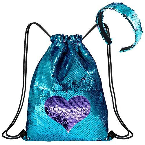 WolinTek Mermaid Borsa con Paillettes Zaino Borsa Paillettes Reversibili Glitter con Fascia,Escursionismo Borsa a Tracolla Palestra,40 × 33 cm (A)