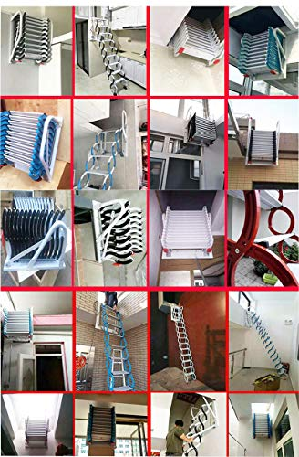 TECHTONGDA Attic Extension Loft Ladder Stairs Folding Ladder Wall-Mounted Type not Pull Down from Ceiling Black