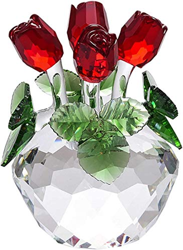 MLL Estatua, Estatuas de Cristal Estatuillas Ramo de Flores de Rosas, Esculturas Róticas Regalo de cumpleaños