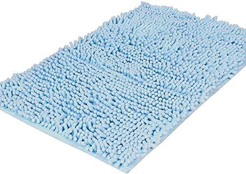 YIQI Alfombra de baño de Felpa de Microfibra de Chenilla, Suave y acogedora, Agua súper Absorbente, Antideslizante, Gruesa para Dormitorio de baño (60x40 cm, Cielo Azul)