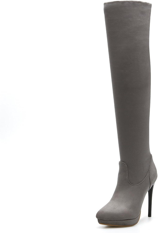 SKY-Maria Damen Mode Hohe Hools Plus Kaschmir High Heels Stiletto-Absatz Wasserdichte Plattform Gemütlich Groe Gre Stiefel Grsse 32-45