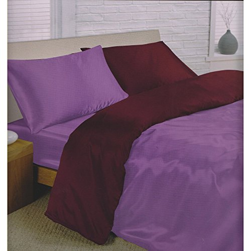 Double bed plain satin reversible complete set amethyst light purple deep purple damson 6 piece double bedding set quilt / duvet cover fitted sheet and 4 pillowcases