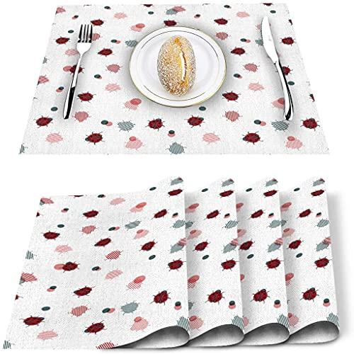 Set de 4 Sets de Table, Mignon Coccinelle Art Insecte Animal à Pois PVC Tapis de Table résistant à la Chaleur antidérapant Lavable napperon de Cuisine pour Table à Manger Table de Banquet de Vacance