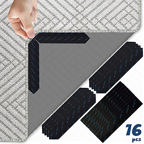 Labeol Rug Grippers Removable Non Slip Rug Grippers 16 PCS Reusable Anti Curling Corner and Side Carpet Holders Grip Hard Floor Keep Your Rug in Place Washable Rug Tape for Tile Floors (16)