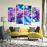 4pcs Flores violetas Sala de estar Set Pintura de pared Impresión en lienzo para la decoración de la sala de estar del hogar Pinturas en cuadros de pared Arte sin marco-40x80cmx2_40x100cmx2