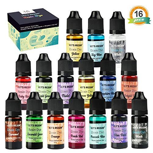 Let's Resin Epoxid-Pigment, 16 Farben, Epoxidharzfarbe, flüssige Epoxidharz-Farbpigmente, durchscheinende Harzfarbe für Epoxidharzfärbung (je Flasche)