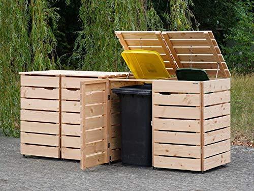 4er Mülltonnenbox / Mülltonnenverkleidung 240 L Holz, Douglasie Natur - 9