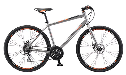 Schwinn Phocus 1500 Flat Bar Sport Fitness Hybrid Bicycle, Featuring 19-Inch/Large Aluminum Step-Over Frame and Mechanical Disc Brakes with Shimano 24-Speed Drivetrain and 700c Wheels, Matte Grey