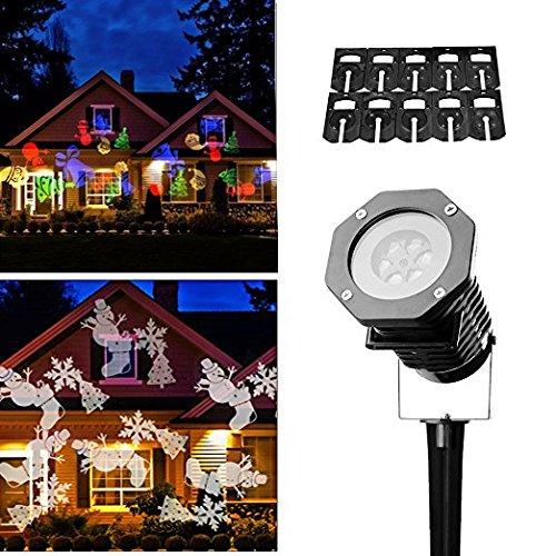 LED Projektionslampe,Drillpro Weihnachten 10 Projektor Lichteffekte IP65 wasserdichte Beleuchtung Schneeflocke Landschaft Spotlight Draussen LED Beamer Lampe Weihnachtslicht