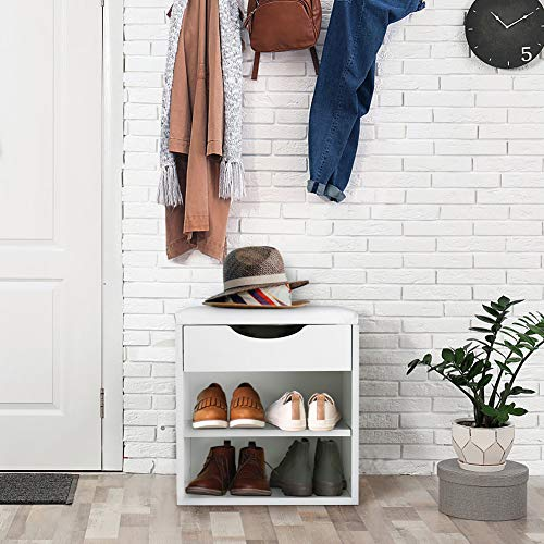 Shoe Cabinet 3-Tier Modern Wooden Shoe Storage Bench Hallway Shoe Rack Stand Storage Box Cupboard Shelf with Padded Seat Cushion for Hallway Bathroom Living Room and Corridor 40.5 x 30.2 x 42cm
