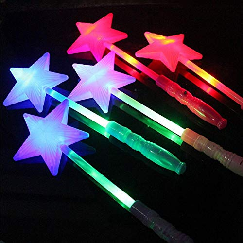 Palos 1pc Magic Star Glow, Led Parpadeante Hada De La Estrella De La Varita para Favor De...