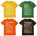 Matching Thanksgiving Shirts Nutrition Facts Group Turkey Pumpkin Shirts 4 Set Brown X-Large/Orange X-Large/Green X-Large/Yellow X-Large