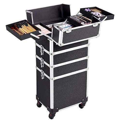 Yaheetech Alu Kosmetikkoffer Friseurkoffer Kosmetik Trolley Multikoffer Beauty Case 4 in 1 schwarz Make-up Koffer