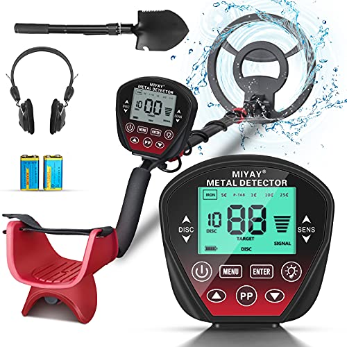 """Professional Metal Detector for Adults & Kids, Stem Adjustable to 60.2"""", Gold Metal Detectors Lightweight with LCD Display, Pinpoint & Disc & Notch & All Metal 5 Modes, 10"""" Search Coil Waterproof"""