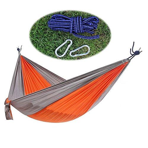 YOOKOON Camping Hammocks Yard Hammock Portable Lightweight Nylon Parachute Multifunctional Hammocks with 2 x Hanging Straps And 2 Carbiners for Camping, Yard, BBQ, Beach (Orange & Grey)