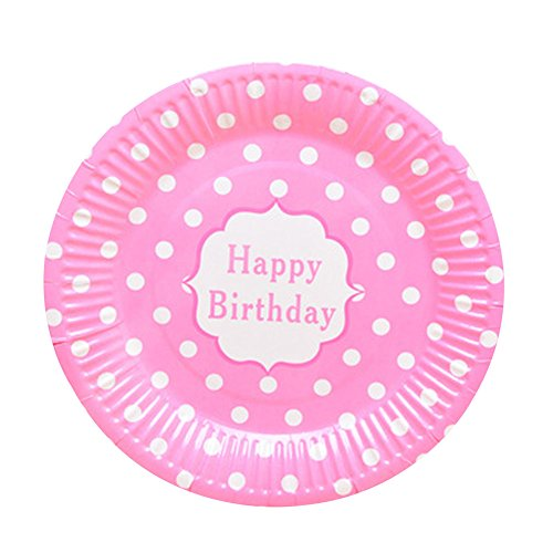 Best Review Of Alien Storehouse Set Of 20 Polka Dot Pattern Birthday Party Tablewares Disposable Pla...
