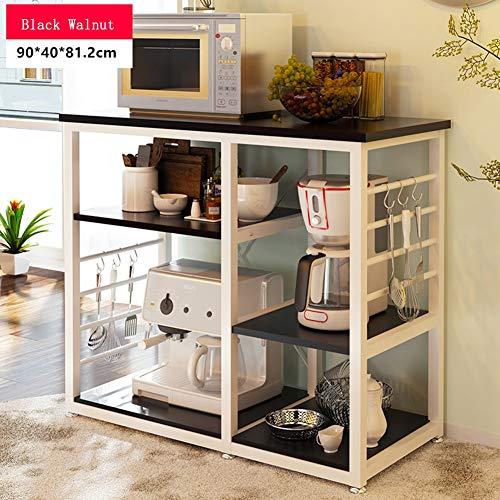 Kitchen Baker\'s Rack 3-stufig Schwarz Nussbaum Utility Mikrowelle Ständer Aufbewahrungswagen Workstation Regal