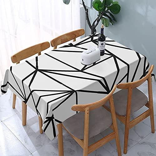 Mantel geométrico Simple Blanco y Negro patrón Minimalista mesas rectangulares Reutilizables Cubierta de Comedor Cubierta de Mesa de poliéster 137X183CM