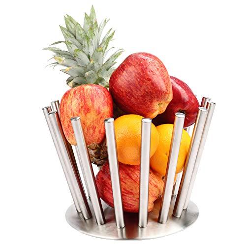 BELLE VOUS Frutero Acero Inoxidable Plateado - Adornos de Cocina Grande para Manzanas, Bananas, Naranjas y Pan - Fruteros de Cocina - Decoración Mesa Comedor - Cesta Fruta Almacenamiento de Sobremesa