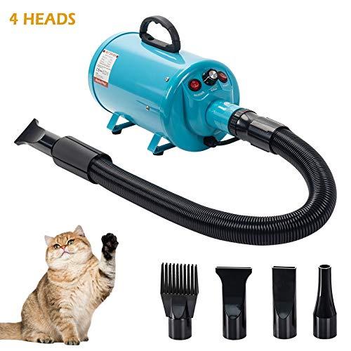 Display4top 2800W Soffiatore per Cani con 4 Ugelli, Velocità di Vento Regolabile, Meno Rumore, Asciugacapelli per Cani per Uso Privato e Professionale (Blau)