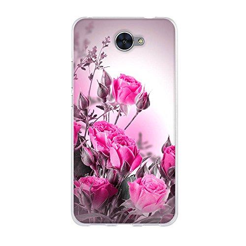 Huawei Y7 Hülle, FUBAODA, Fantasy wilde Rose, Kratzfest, Stoßfest, Langlebig, Transparent Weiche Silikon Schutzhülle TPU Bumper Hülle für Huawei Y7 (5.5