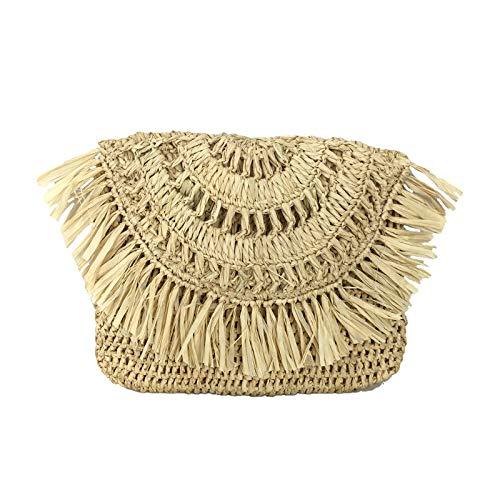 Mar Y Sol Mia Crochet Raffia Fringe Clutch, Natural